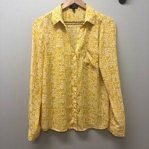 The Limited yellow & white long sleeve blouse M